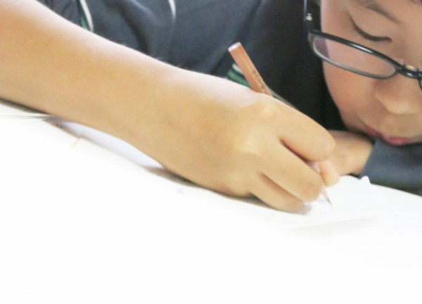 真剣に勉強する中学生