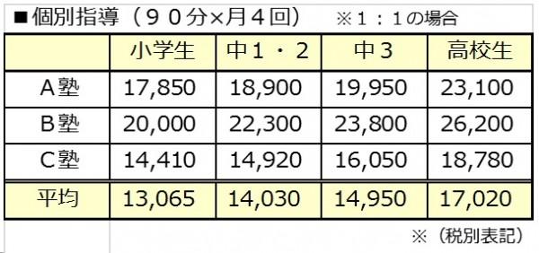月4回の授業料(個別指導)