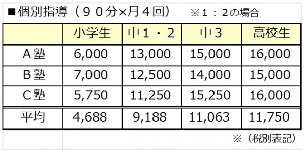 月4回の授業料(個別指導1対2の場合)